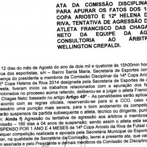 Copa Ariosto da Riva, atleta é punido por 14 meses
