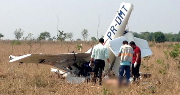 Aeronave cai a 50 metros de pista de pouso e duas pessoas morrem em MT