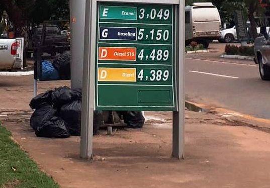 Valor da gasolina chega a até R$5,15 na maioria dos postos de Alta Floresta após aumento anunciado pelo governo