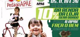 PEDÁGIO APAE: Empresa doará 10% do lucro dos produtos vendidos em dias específicos para a APAE de Alta Floresta