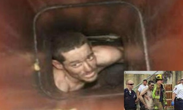 Ladrão fica entalado em chaminé