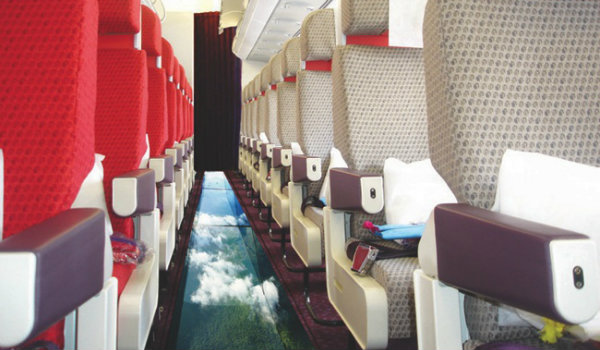 Companhia aérea anuncia avião com piso de vidro