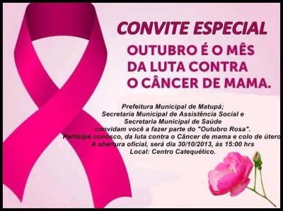Secretaria de Saúde lança Campanha Outubro Rosa em Matupá com programação bem variada