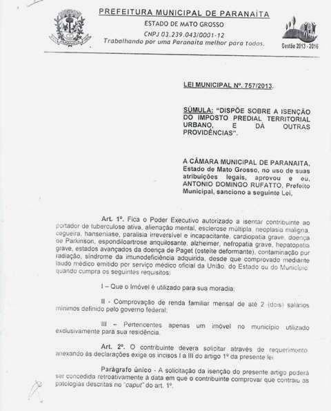 Em Paranaíta agora é Lei Isenção de IPTU para portadores de doenças graves (2)