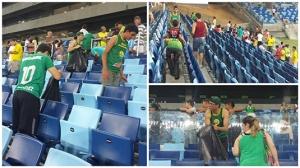 Torcedores da Raça Cuiabana limpam setor Leste Inferior após jogo na Arena Pantanal
