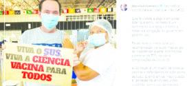 Após superar Covid, Barranco recebe 1ª dose da vacina em Cuiabá e comemora